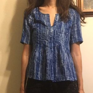 Anthro Maeve blue dotted streaked sz 2 blouse